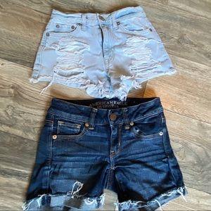 2 jean shorts size 00 xs hi rise waist distressed